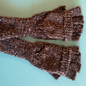 Tweed Fingerless Gloves with Mittens